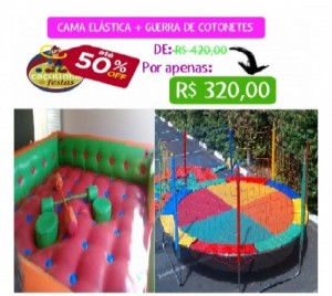 GUERRA DE COTONETES 4,20 X 4,20 MTS + CAMA ELÁSTICA 3,70 MTS