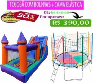 TOBOGÃ C/ PISCINA DE BOLINHAS 5 MTS COMP + CAMA ELÁSTICA 3,10 MTS