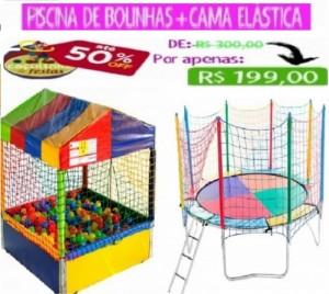 PISCINA DE BOLINHAS 1,5 X 1,5 MTS CASINHA + CAMA ELÁSTICA 3,10 MTS