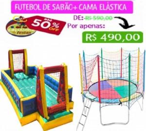 FUTEBOL DE SABÃO 10 MTS COMP + CAMA ELÁSTICA 3,10 MTS