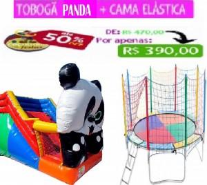 TOBOGÃ PANDA 5 MTS COMP   + CAMA ELÁSTICA 3,10 MTS