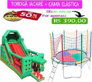 TOBOGÃ JACARÉ 6 MTS COMP + CAMA ELÁSTICA 3,10 MTS