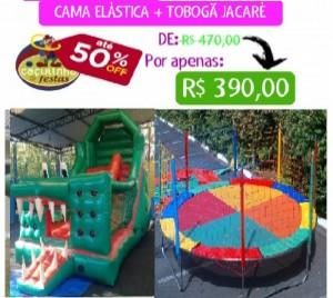 TOBOGÃ JACARÉ 6 MTS COMP + CAMA ELÁSTICA 3,70 MTS