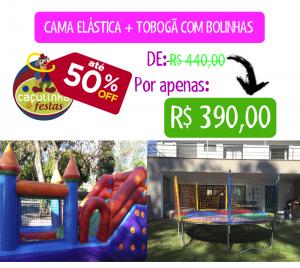 Cama Elástica + Tobogã com Bolinhas
