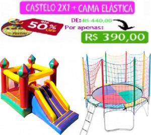 PULA-PULA C/ ESCORREGADOR 5 MTS COMP + CAMA ELÁSTICA 3,10 MTS