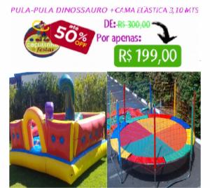 PULA-PULA DINOSSAURO 3 X 3 MTS + CAMA ELÁSTICA 3,10 MTS