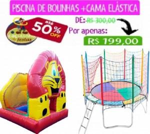 PISCINA DE BOLINHAS INFLÁVEL LEÃO 2 X 2 MTS + CAMA ELÁSTICA 3,10 MTS