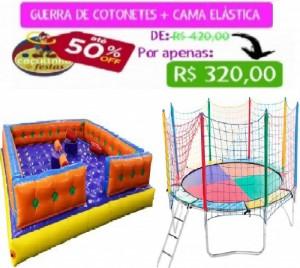 GUERRA DE COTONETES 4,20 X 4,20 MTS + CAMA ELÁSTICA 3,10 MTS